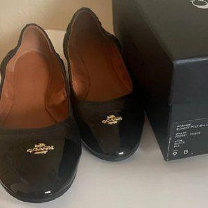 *$89 *NEW* COACH Black Patent/Leather Ballet Flat